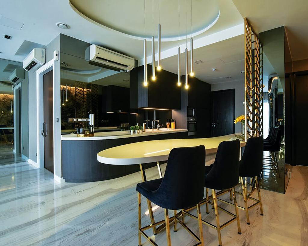 Contemporary, Condo, Dining Room, Setia Sky Residence, Kuala Lumpur, Interior Designer, Hoe & Yin Design Studio, Chair, Furniture, Electronics, Entertainment Center, Home Theater, Indoors, Room, Interior Design