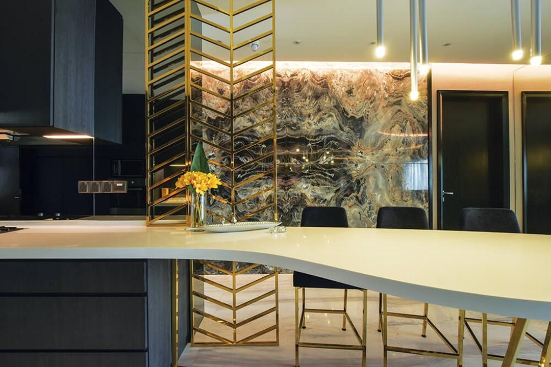 Setia Sky Residence, Kuala Lumpur, Hoe & Yin Design Studio, Contemporary, Dining Room, Condo, Dining Table, Furniture, Table, Chair, Indoors, Interior Design, Room, Banister, Handrail