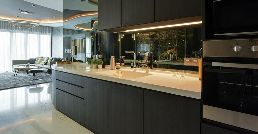 Contemporary, Condo, Kitchen, Setia Sky Residence, Kuala Lumpur, Interior Designer, Hoe & Yin Design Studio, Appliance, Electrical Device, Oven, Couch, Furniture, Indoors, Interior Design, Room, Electronics, Entertainment Center, Home Theater