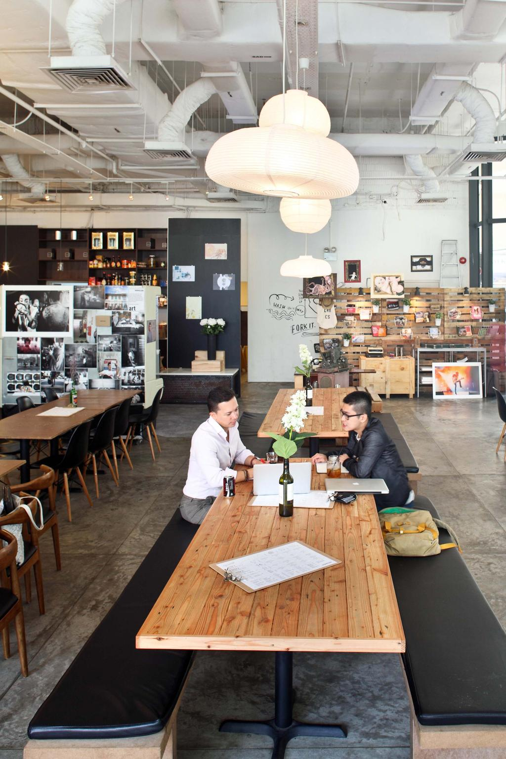Lowercase, Commercial, Interior Designer, The Design Abode, Industrial, Bench, Wood Table, Dinig Tbales, Dining Chairs, Dining Ench, Shleing, Hanging Lights, Dining Light, Human, People, Person, Dining Table, Furniture, Table, Worker, Cafe, Restaurant, Chair
