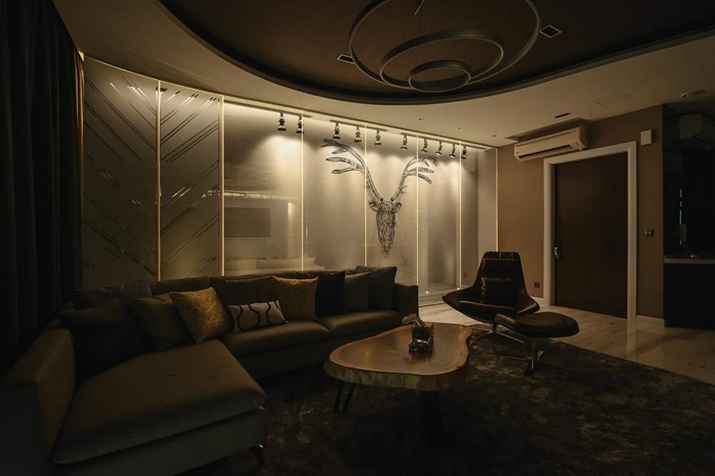Contemporary, Condo, Living Room, Setia Sky Residence, Kuala Lumpur, Interior Designer, Hoe & Yin Design Studio, Couch, Furniture, Indoors, Room, Chair, Door, Sliding Door