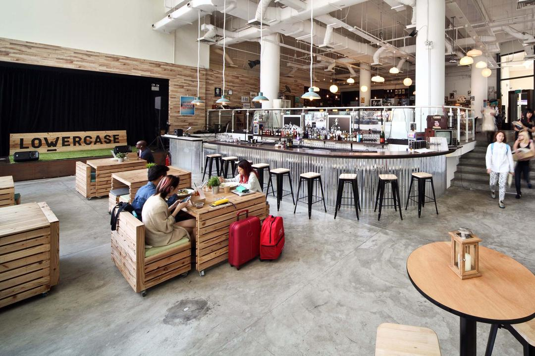 Lowercase, The Design Abode, Industrial, Commercial, Tiles, Bar Counter, Bar Ctool, Dining Tbale, Dining Chairs, Crate Chairs, Hanging Lights, Plywood, Wood, Cafe, Restaurant, Dining Table, Furniture, Table