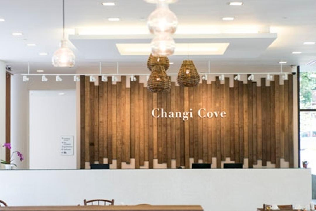 Changi Cove, The Design Abode, Modern, Commercial, Hanging Lights, Dining Tbale, Dining Chairs, Textured Wall, Feture Wall, Human, People, Person