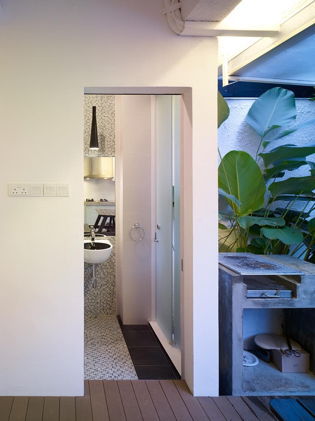 Contemporary, Landed, Bathroom, Ceylon Road, Interior Designer, The Design Abode, Toilet, Sink, Tiles, Backyard, Bbq Pit
