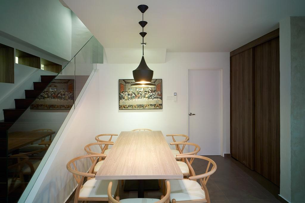 Contemporary, Landed, Dining Room, Ceylon Road, Interior Designer, The Design Abode, Dining Table, Dining Chairs, Hanging Lights, Dining Lights, Tiles, Wood Door, Stairs, Chair, Furniture, Indoors, Interior Design, Room, Banister, Handrail
