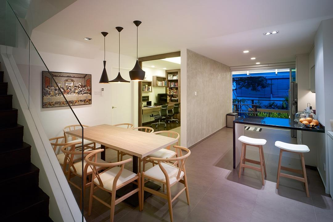 Ceylon Road, The Design Abode, Contemporary, Dining Room, Landed, Dining Table, Bar Table, Bar Stool, Hanging Lights, Dining Lights, Down Light, Tiles, Study Room, Chair, Furniture, Banister, Handrail, Staircase, Indoors, Interior Design, Room, Table, HDB, Building, Housing