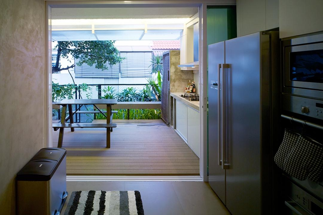 Ceylon Road, The Design Abode, Contemporary, Kitchen, Landed, Fridge, Carpet, Oven, Bench, Tbale, Stove, Hood, Flora, Jar, Plant, Potted Plant, Pottery, Vase, Balcony, HDB, Building, Housing, Indoors, Appliance, Electrical Device