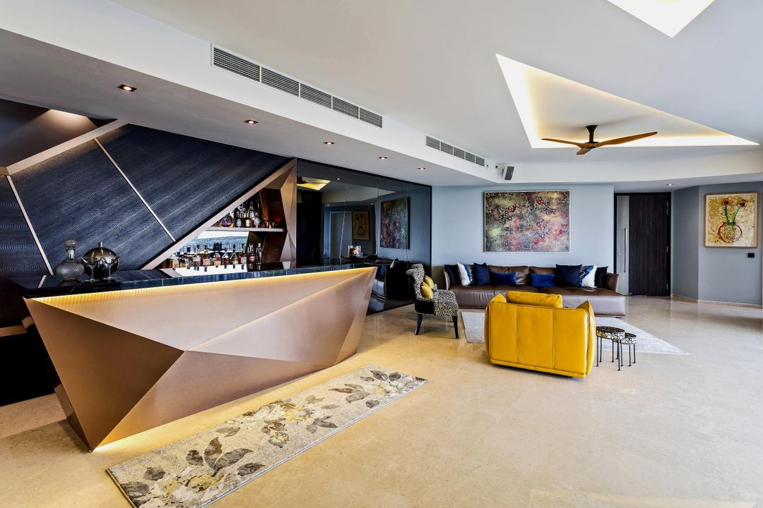 The Interlace, Summerhaus D'zign, Eclectic, Contemporary, Living Room, Condo, Architecture, Building, Skylight, Window