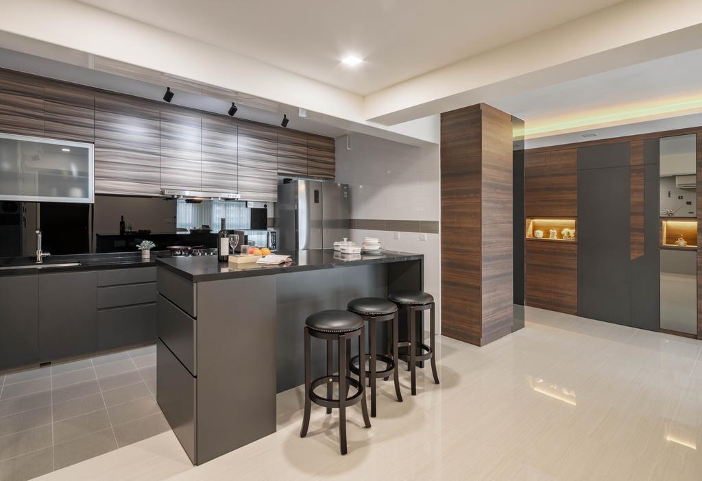 Contemporary, HDB, Dining Room, Taman Jurong, Interior Designer, T&T Design Artisan, Bar Stool, Furniture, Indoors, Interior Design, Kitchen, Room, Door, Sliding Door, Sideboard