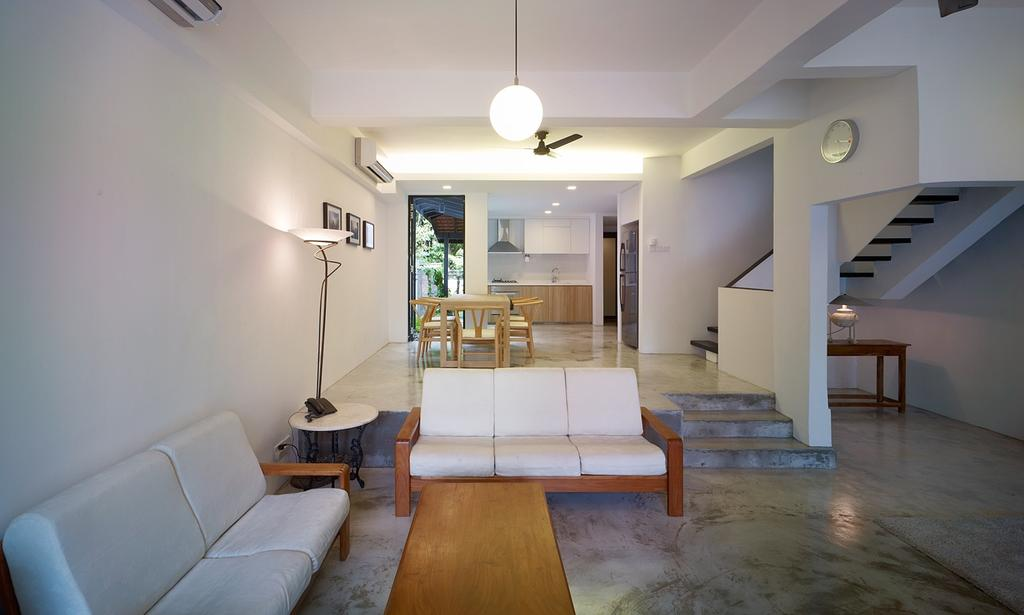 Minimalistic, Landed, Living Room, Binchang Rise, Interior Designer, The Design Abode, Hanging Light, Sofa, Side Table, Tiles, Coffee Table, Stairs, Ceiling Fan, Flooring, Banister, Handrail, Staircase, HDB, Building, Chair, Furniture, Housing, Indoors