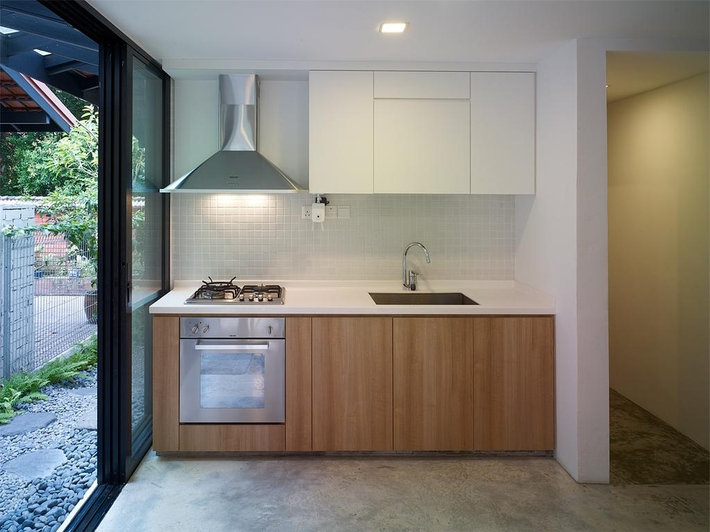 Minimalistic, Landed, Kitchen, Binchang Rise, Interior Designer, The Design Abode, Dry Kitchen, Hood, Oven, Stove, Sin, Cabinets, Shleving, Indoors, Interior Design, Room, Appliance, Electrical Device