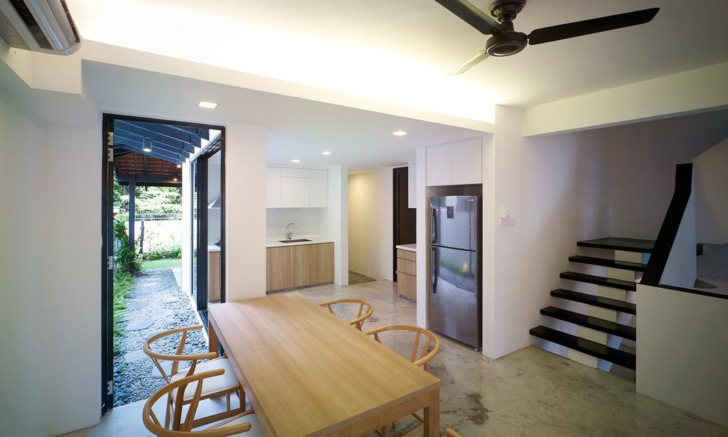 Minimalistic, Landed, Dining Room, Binchang Rise, Interior Designer, The Design Abode, Ceiling Fan, Cove Light, Dining Tbale, Kitchen, Dry Kitchen, Fridge, Banister, Handrail, Staircase, Appliance, Electrical Device, Refrigerator, Indoors, Interior Design, Room, HDB, Building, Housing, Loft, Chair, Furniture