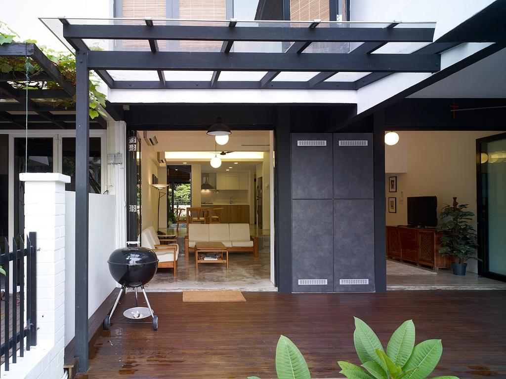 Minimalist, Landed, Binchang Rise, Interior Designer, The Design Abode, Garden, Rooftop, Wood Floor, Architecture, Building, Skylight, Window, Bar Stool, Furniture