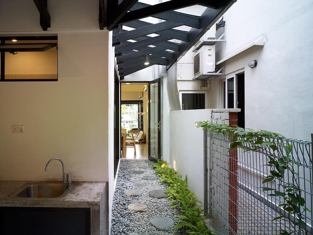 Minimalistic, Landed, Binchang Rise, Interior Designer, The Design Abode, Wet Kitchen, Stones, Pathway, Light Fixture, Patio