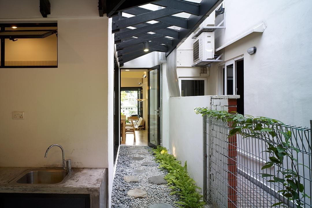 Binchang Rise, The Design Abode, Minimalistic, Landed, Wet Kitchen, Stones, Pathway, Light Fixture, Patio