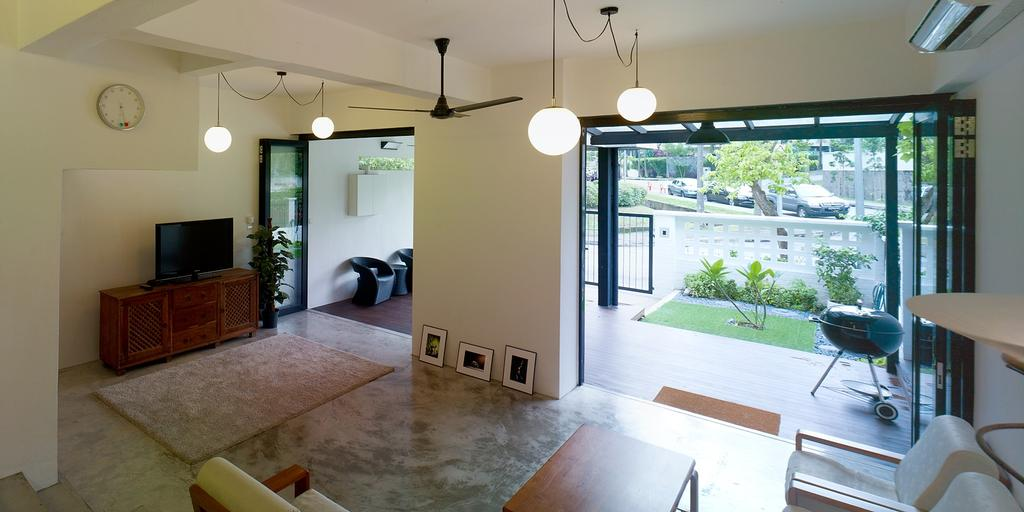 Minimalist, Landed, Living Room, Binchang Rise, Interior Designer, The Design Abode, Hanging Lights, Tiles, Tv, Tv Console, Ceiling Fan, Electronics, Monitor, Screen, Television, HDB, Building, Housing, Indoors, Beach Wagon, Carriage, Transportation, Vehicle, Wagon