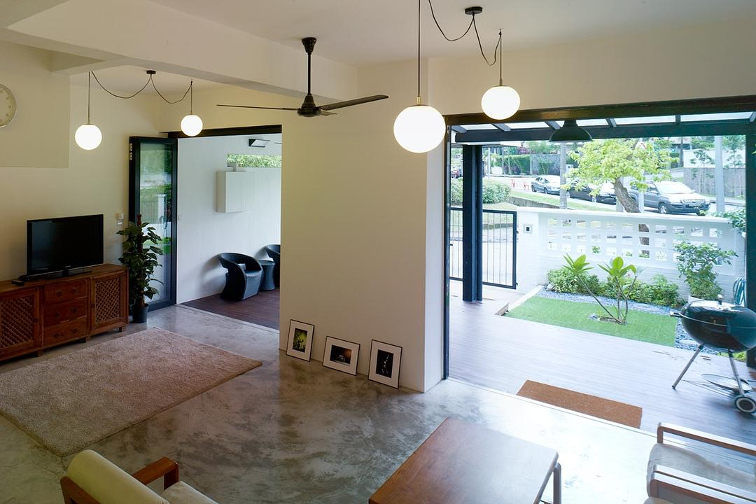 Binchang Rise, The Design Abode, Minimalistic, Living Room, Landed, Hanging Lights, Tiles, Tv, Tv Console, Ceiling Fan, Electronics, Monitor, Screen, Television, HDB, Building, Housing, Indoors, Beach Wagon, Carriage, Transportation, Vehicle, Wagon