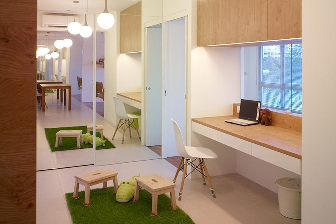 Compassvale Lane, The Design Abode, Transitional, Study, HDB, Study Desk, Grass Carpet, Stool, Chair, Hanging Light, Drawers, Shelving, Mirror, Furniture, Dining Room, Indoors, Interior Design, Room, Dining Table, Table