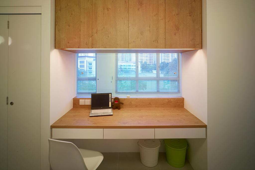 Transitional, HDB, Study, Compassvale Lane, Interior Designer, The Design Abode, Study Desk, Shelving, Drawers, Chair