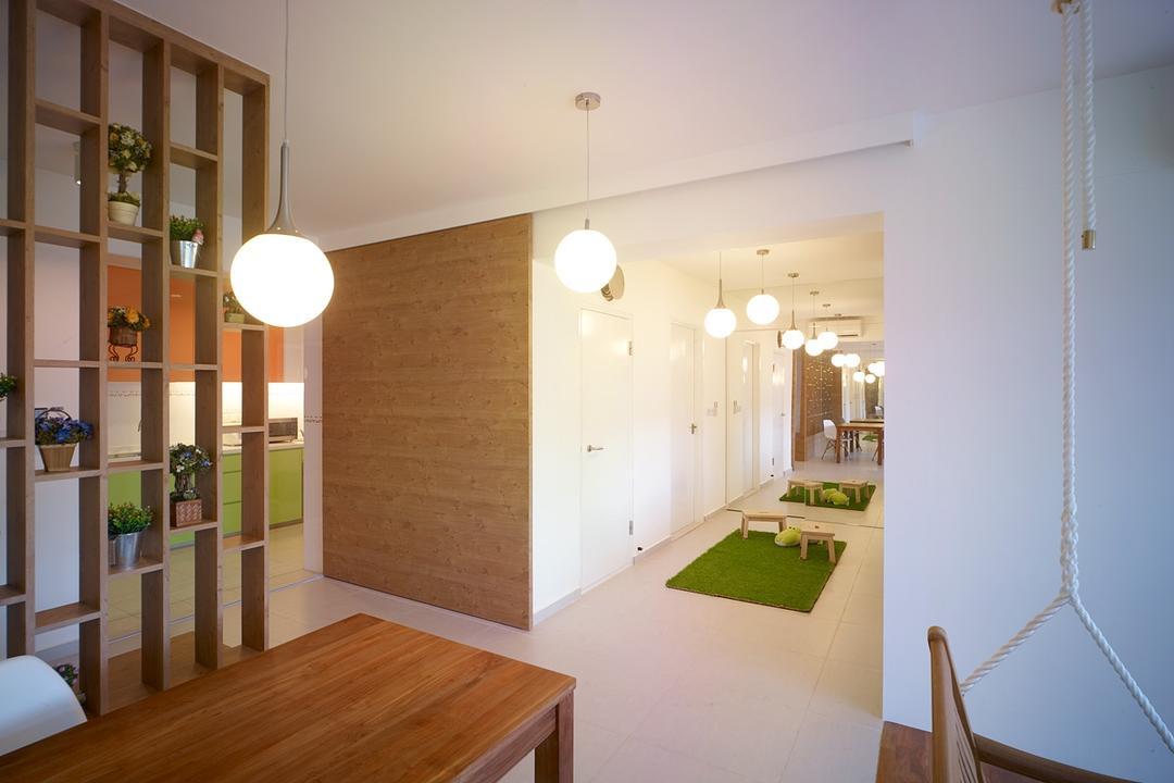 Compassvale Lane, The Design Abode, Transitional, Living Room, HDB, Hanging Light, Wood Table, Partition, Indoors, Interior Design, Flooring