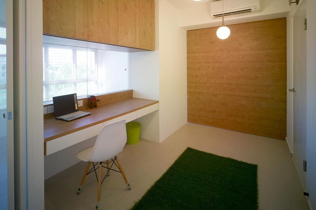 Transitional, HDB, Study, Compassvale Lane, Interior Designer, The Design Abode, Shelving, Study Desk, Chair, Grass Carpet, Wood Wall, Hanging Ight, Furniture, Building, Housing, Indoors