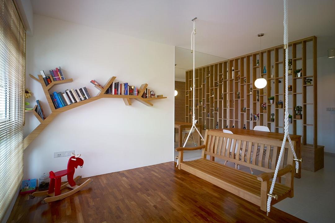 Compassvale Lane, The Design Abode, Transitional, Living Room, HDB, Swing, Parquet, Shelving, Partition, Wood Swing, Wood Floor, Blinds, Cradle, Furniture, Banister, Handrail, Staircase