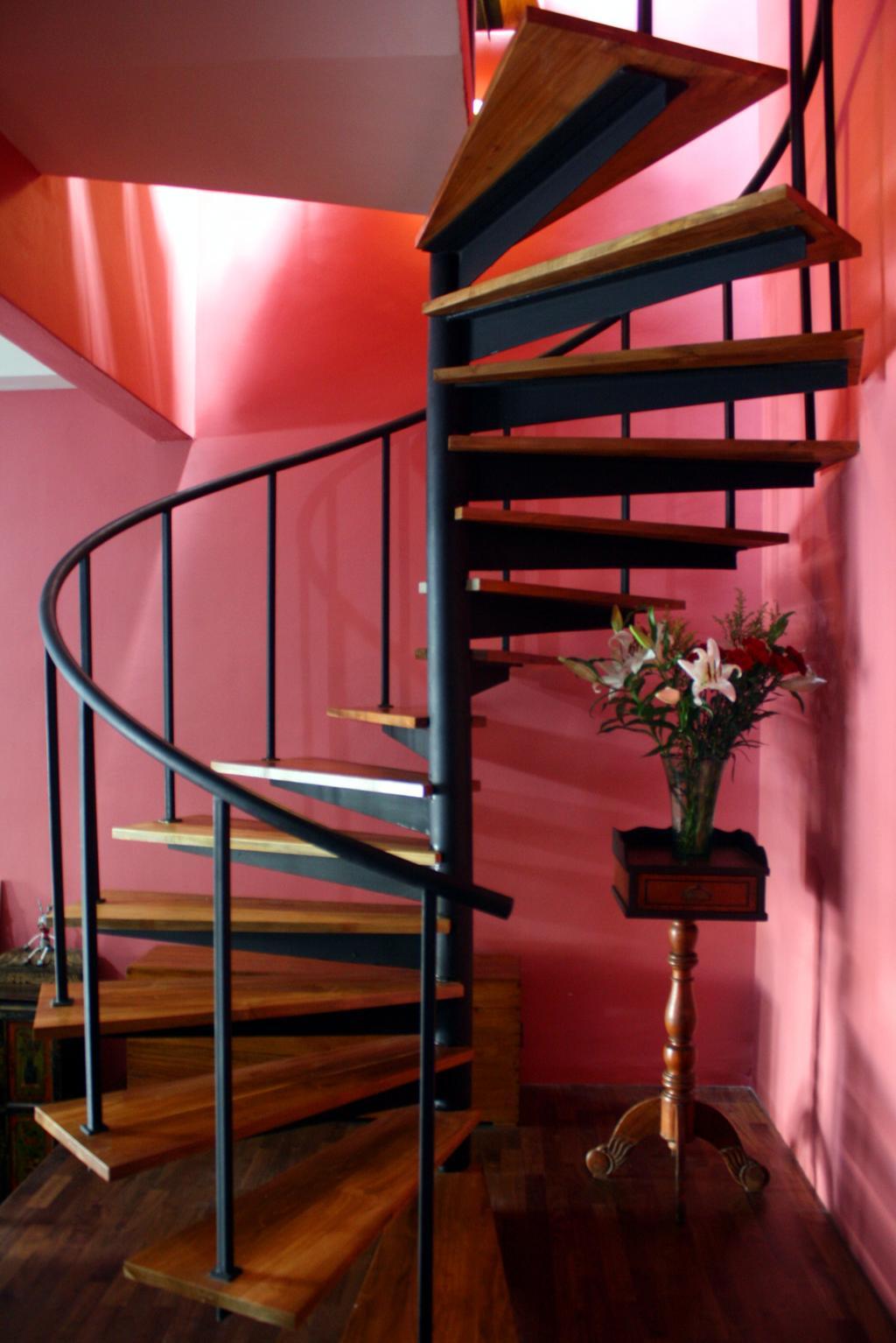 Contemporary, Landed, Fulton Avenue, Interior Designer, The Design Abode, Round Stairways, Flora, Jar, Plant, Potted Plant, Pottery, Vase