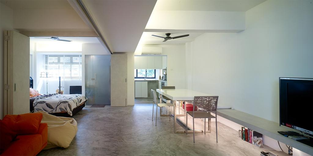 Minimalistic, HDB, Living Room, Holland Avenue, Interior Designer, The Design Abode, Sofa, Bean Bag, Tiles, Dining Chairs, Dining Table, Tv, Tv Console, Ceiling Fan, Bed, Cove Light, Canvas, Furniture, Table