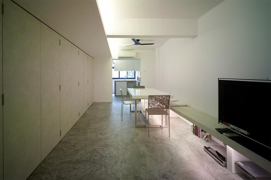 Holland Avenue, The Design Abode, Minimalistic, Dining Room, HDB, Cove Light, Tv, Tv Console, Ceiling Fan, Dining Table, Dining Chairs, Tiles, Cupboards, Furniture, Table, Flooring, Building, Housing, Indoors, Loft