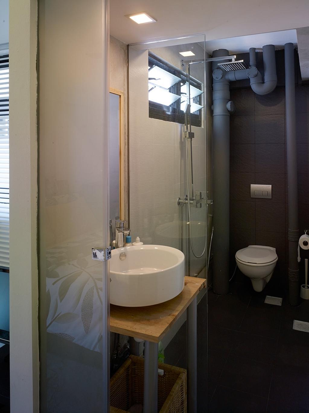 Minimalistic, HDB, Bathroom, Holland Avenue, Interior Designer, The Design Abode, Sink, Shower Screen, Shower, Toilet Bowl, Toilet, Indoors, Interior Design, Room