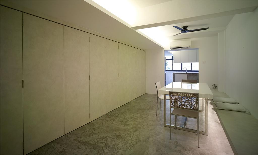 Minimalistic, HDB, Dining Room, Holland Avenue, Interior Designer, The Design Abode, Cupboards, Tiles, Dining Table, Dining Chairs, Ceiling Fan, Cove Light, Chair, Furniture