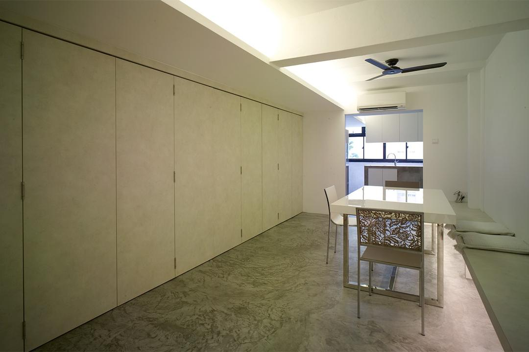Holland Avenue, The Design Abode, Minimalistic, Dining Room, HDB, Cupboards, Tiles, Dining Table, Dining Chairs, Ceiling Fan, Cove Light, Chair, Furniture