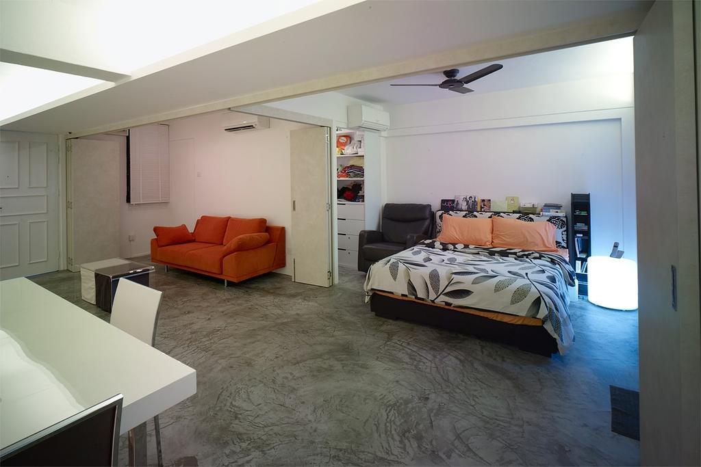Minimalistic, HDB, Bedroom, Holland Avenue, Interior Designer, The Design Abode, Bed, Pillows, Sofa, Ceiling Fan, Couch, Furniture, Indoors, Interior Design, Room