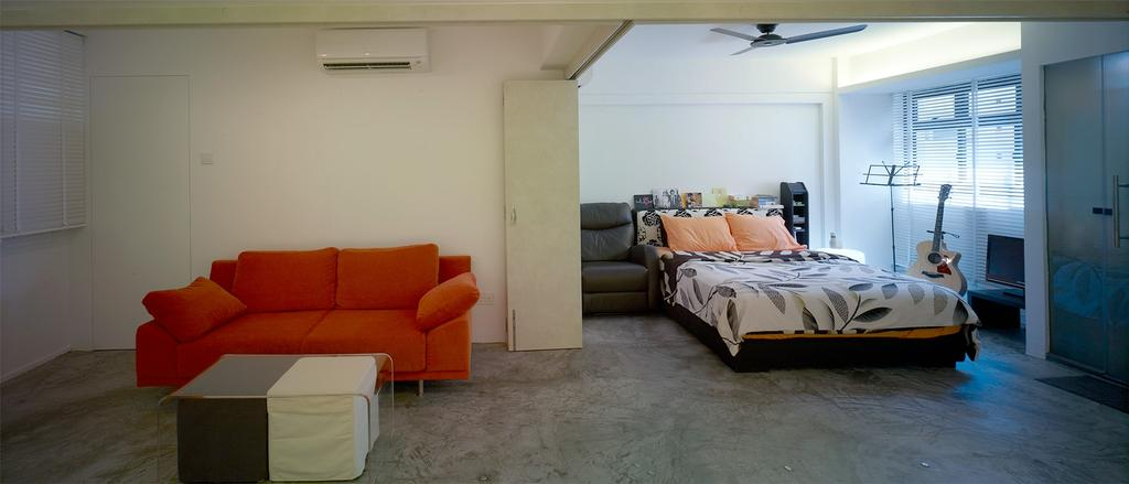 Minimalistic, HDB, Living Room, Holland Avenue, Interior Designer, The Design Abode, Sofa, Bed, Ceiling Fan, Couch, Furniture, Chair