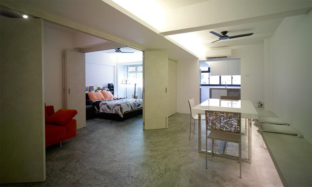 Minimalistic, HDB, Dining Room, Holland Avenue, Interior Designer, The Design Abode, Ceiling Fan, Dining Table, Dining Chairs, Bed, Sofa, Couch, Furniture, Table, Chair