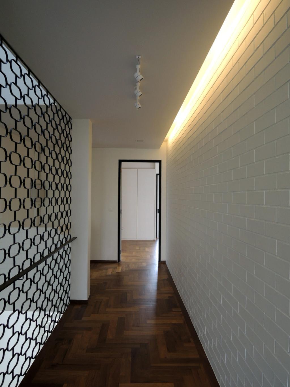 Contemporary, Landed, Elliot House, Interior Designer, The Design Abode, Brick Wall, Wood Floor, Wood Flooring, Concealed Lighting, Partition, Corridor, Door
