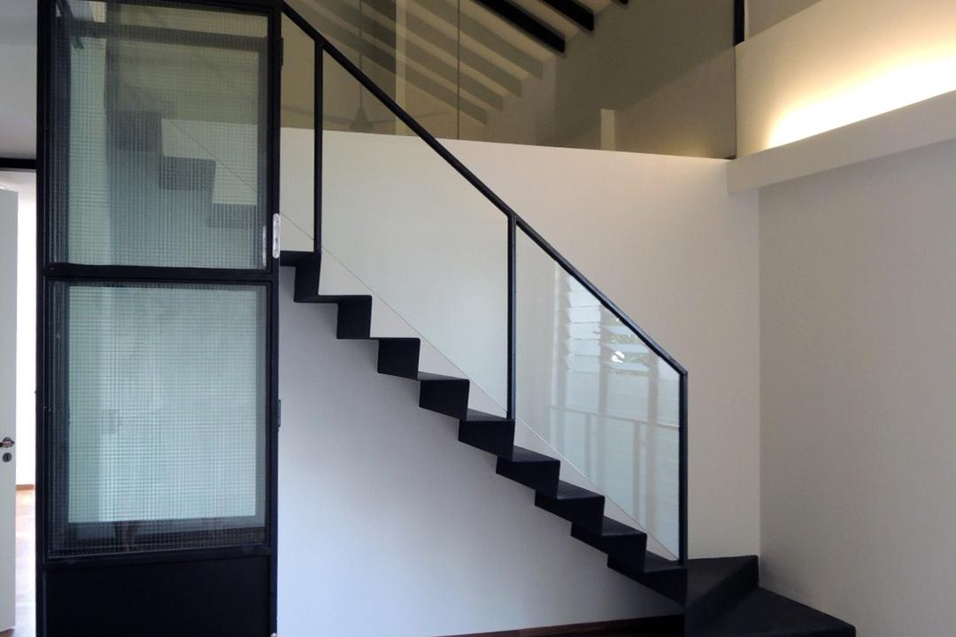 Elliot House, The Design Abode, Contemporary, Landed, Stair, Staircase, Wood Floor, Wooden Flooring, Wood Flooring, Wooden Beams, Banister, Handrail