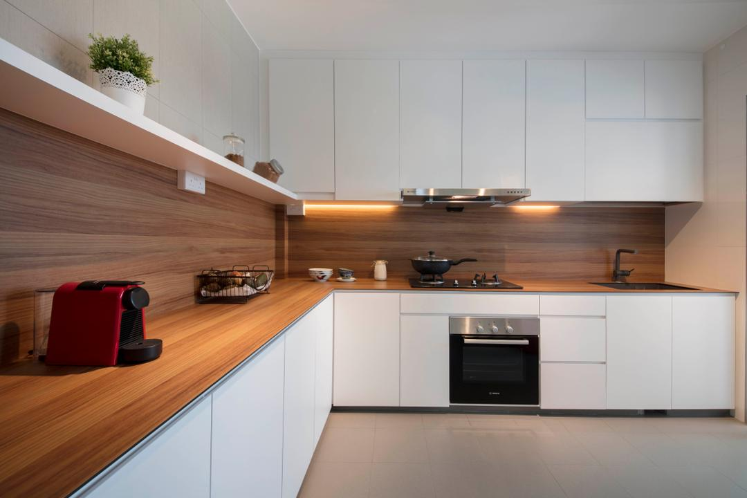Sumang Lane (Block 232B), Starry Homestead, Scandinavian, Kitchen, HDB, Luggage, Suitcase, Flora, Jar, Plant, Potted Plant, Pottery, Vase, Indoors, Interior Design, Room, Appliance, Electrical Device, Oven, Furniture, Sideboard, Flooring