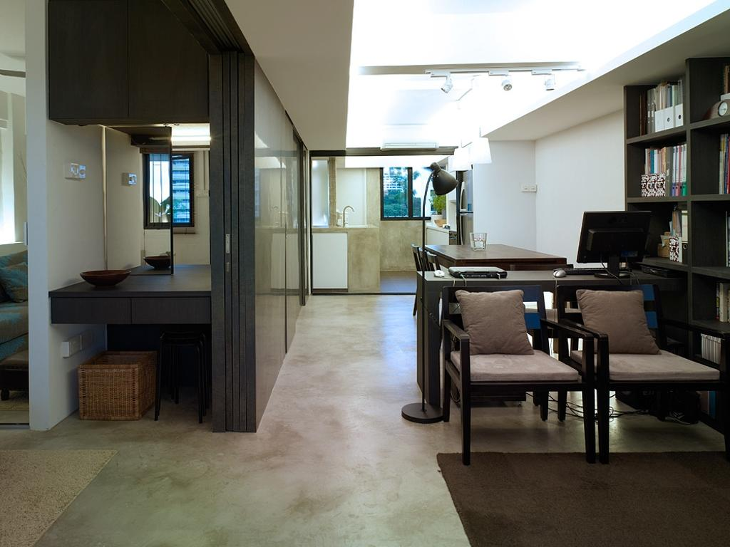 Contemporary, HDB, Living Room, Marine Terrace, Interior Designer, The Design Abode, Sliding Door, Partition, Sliding Partition, Wood, Brown, Chairs, Vintage, Couch, Furniture, Chair