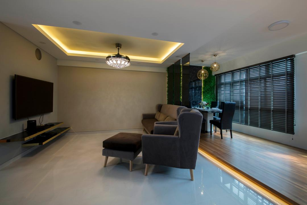 Yishun Ring Road, Starry Homestead, Modern, Living Room, HDB, Couch, Furniture, Machine, Ramp, Coffee Table, Table