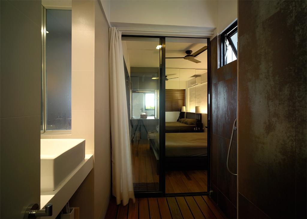 Contemporary, HDB, Bathroom, Marine Terrace, Interior Designer, The Design Abode, Sliding Door, Curtain, Warm, Sink, Bathroom Sink, Architecture, Building, Skylight, Window, Flooring
