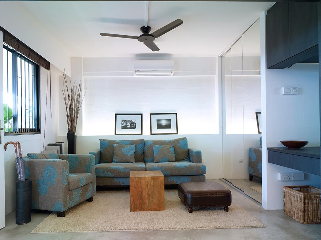 Contemporary, HDB, Living Room, Marine Terrace, Interior Designer, The Design Abode, Sofa, Couch, Fabric Sofa, Ceiling Fan, Coffee Table, Umbrella Stand, Prints, Photo Frame, Wall Frame, Concealed Lighting, Furniture, Door, Sliding Door, Hardwood, Stained Wood, Wood, Chair
