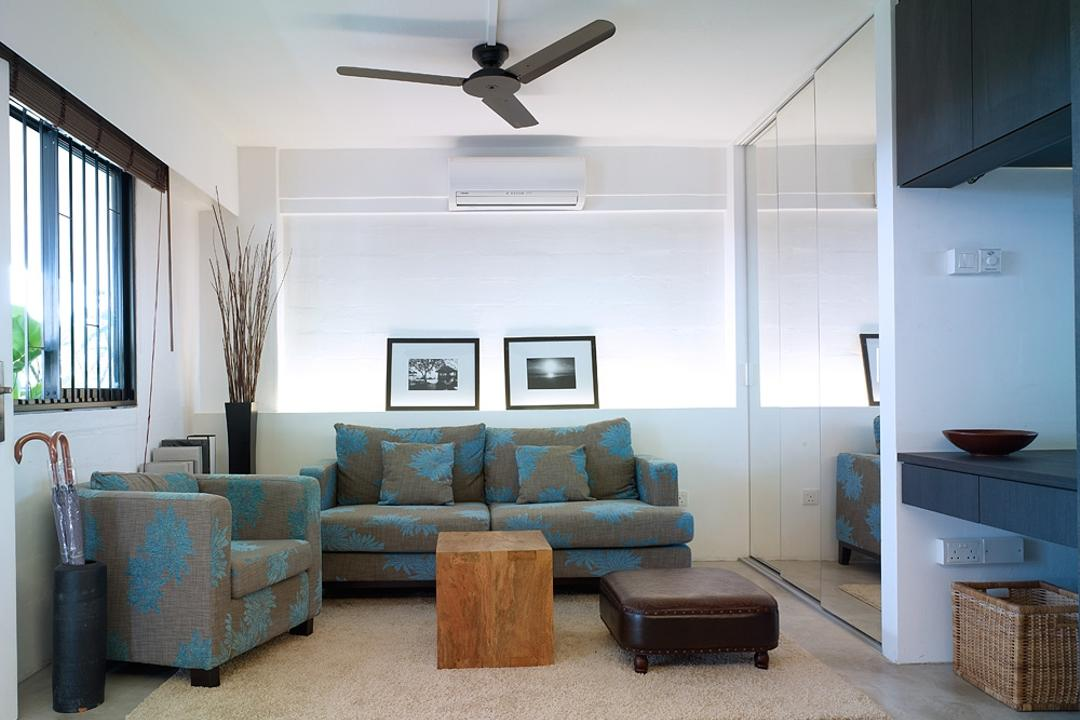 Marine Terrace, The Design Abode, Contemporary, Living Room, HDB, Sofa, Couch, Fabric Sofa, Ceiling Fan, Coffee Table, Umbrella Stand, Prints, Photo Frame, Wall Frame, Concealed Lighting, Furniture, Door, Sliding Door, Hardwood, Stained Wood, Wood, Chair