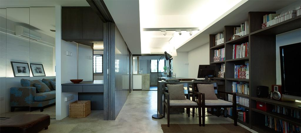 Contemporary, HDB, Living Room, Marine Terrace, Interior Designer, The Design Abode, Chairs, Bookshelf, Books, Shelves, Shelving, Partition, Wood, Vintage, Sofa, Couch, Concealed Lighting, Dining Table, Furniture, Table, Chair, Building, Housing, Indoors, Loft