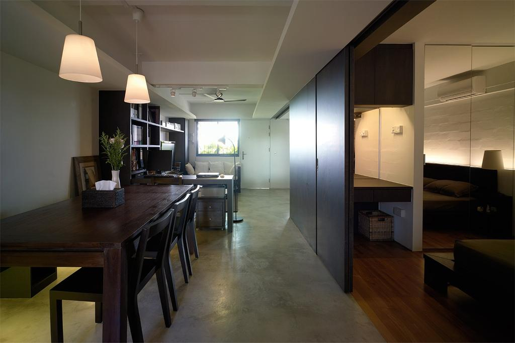 Contemporary, HDB, Dining Room, Marine Terrace, Interior Designer, The Design Abode, Dining Table, Dining Room Chairs, Pendant Light, Pendant Lighting, Sliding Door, Building, Housing, Indoors, Loft, Furniture, Table, Couch, Interior Design, Room