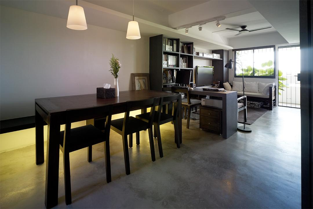 Marine Terrace, The Design Abode, Contemporary, Dining Room, HDB, Dining Room Chairs, Chairs, Wood, Pendant Lights, Pendant Lighting, Brown, Dining Table, Furniture, Table, Indoors, Interior Design, Room, Chair, Door, Sliding Door