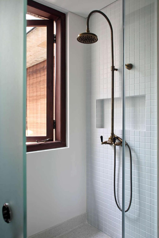 Traditional, Landed, Bathroom, Neil Road Shophouse, Interior Designer, The Design Abode, Shower Area, Shower Head, Brass, Shower Screen, Rainshower, White, Colonial, Mosaic Tiles, Grid
