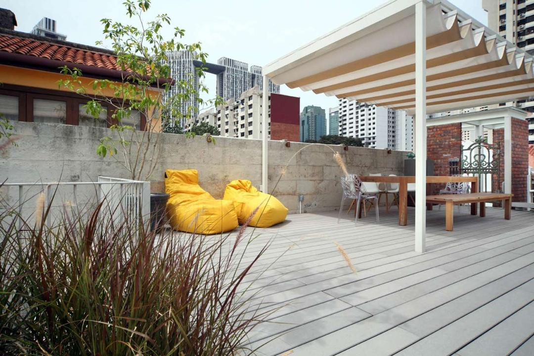Neil Road Shophouse, The Design Abode, Traditional, Landed, Rooftop, Lounge, Beanbag, Chairs, Bench, Shelter, Roof, Tile Roof, Dining Table, Furniture, Table