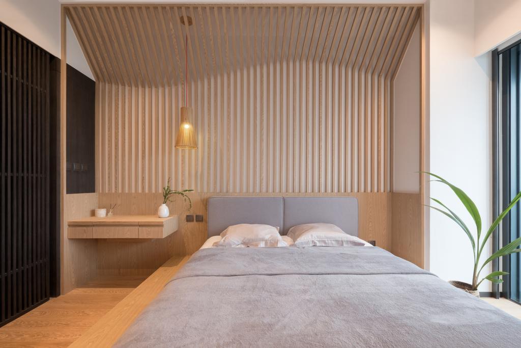 簡約, 私家樓, 睡房, 迎海, 室內設計師, 山外工作室, Wood Panelling, Platform Bed, Indoors, Interior Design, Room