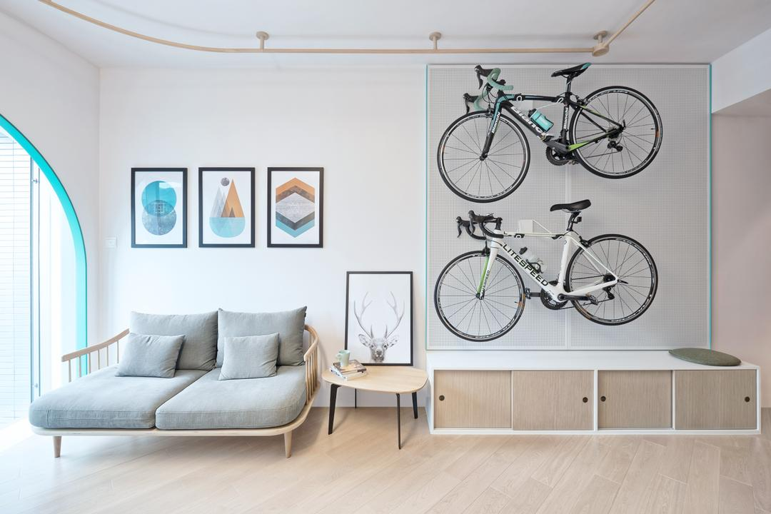 Park YOHO, 山外工作室, 北歐, 客廳, 私家樓, Bicycle Rack, Bicycle, Bike, Mountain Bike, Transportation, Vehicle, Indoors, Interior Design